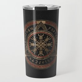 The Helm of Awe  Black and Red Leather and gold Travel Mug
