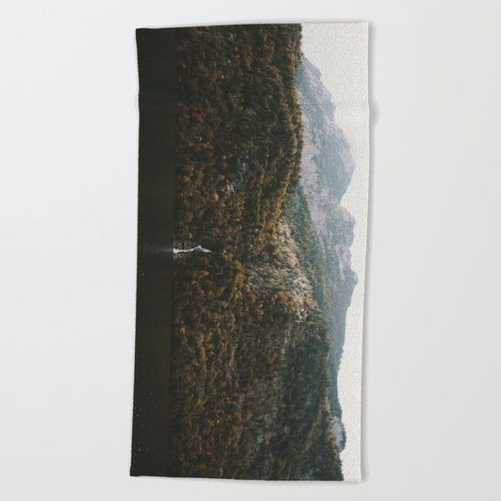 Autumn Waterfall at the Mountain Lake - Landscape Photography Beach Towel