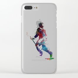 Lacrosse player art 3 Clear iPhone Case