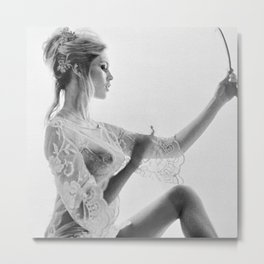 Brigitte Bardot in the looking glass black and white photography - black and white photographs Metal Print