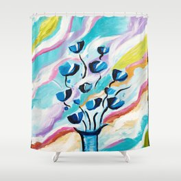 Modern Abstract Flowers Shower Curtain