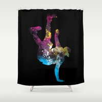 hip hop Shower Curtains featuring hip hop galaxy by pradeep chauhan
