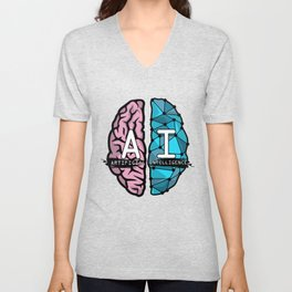 AI Nerd design - Artificial Intelligence Brain graphic Unisex V-Neck