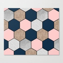Navy and peach marble and foil hexagons Canvas Print