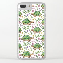 Tortoises and Flowers on white pattern Clear iPhone Case