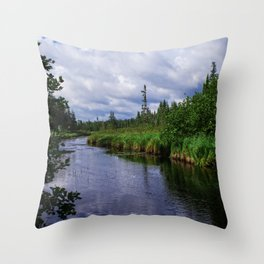 Boundary Waters Entry Point Little Indian Sioux River Bed Throw Pillow