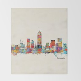 Indianapolis Indiana skyline Throw Blanket