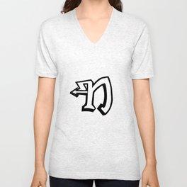 N-Letter Collection White Unisex V-Neck