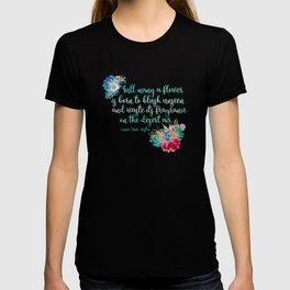 Jane Austen Quote - Flowers on Black T-shirt