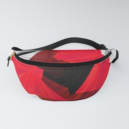 red black white silver abstract digital art Fanny Pack