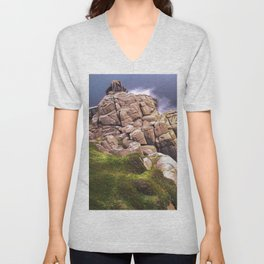 View From The Minack Theatre, Porthcurno, Cornwall, England, United Kingdom Unisex V-Neck