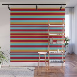 Golden, Red Wine and Turquoise Vintage Stripes Wall Mural