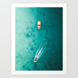 Speed and Still - Two boats in the teal sea Art Print