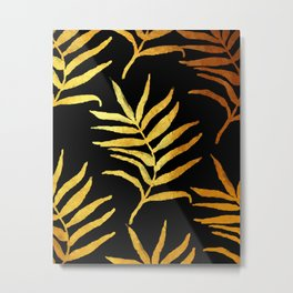 Black and gold leaf pattern V2 #society6 Metal Print
