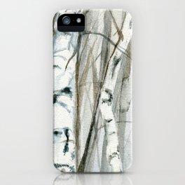 Winter Birch Trees Woodland Watercolor Original Art Print iPhone Case