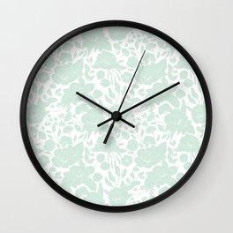 Vintage elegant pastel green white stylish floral Wall Clock