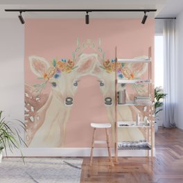 Fawn flower Crown Watercolor Mirror Wall Mural