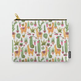 watercolor alpaca clicque with cacti and succulents Carry-All Pouch