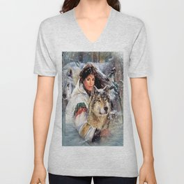 Mountain Woman With Wolfs Unisex V-Neck