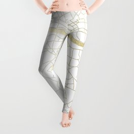London White on Gold Street Map Leggings