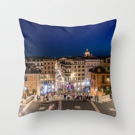 Spanish Steps and Piazza di Spagna at dusk - Rome, Italy Throw Pillow