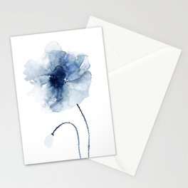 Blue Watercolor Poppies #2 Stationery Cards