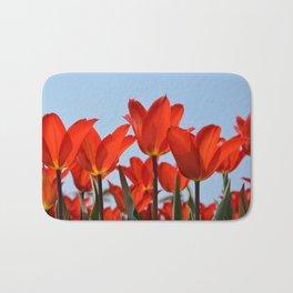 Bright Red Tulips Bath Mat