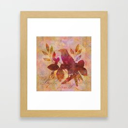 Bird and Leaf Illustration in warm colors Framed Art Print