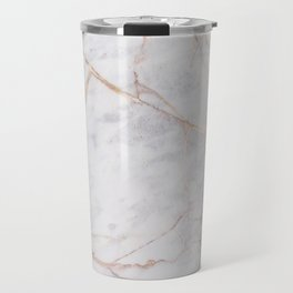 White Italian Marble & Gold Travel Mug