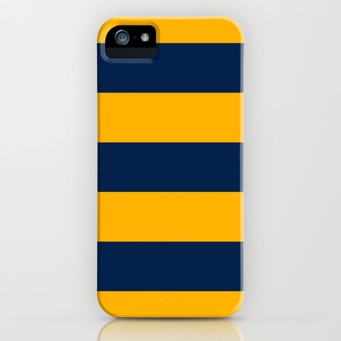 Slate Blue and Golden Yellow Stripes iPhone Case