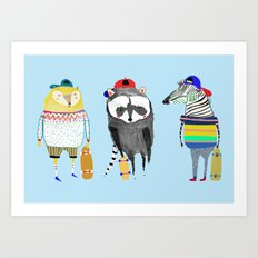 The skateboarders. skateboard print - skating - animal art. Art Print
