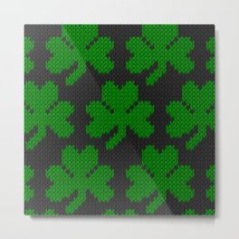 Shamrock pattern - black, green Metal Print