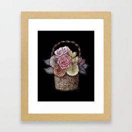 Flower Basket (color) Framed Art Print