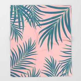 Palm Leaves Pattern Blush Vibes #1 #tropical #decor #art #society6 Throw Blanket