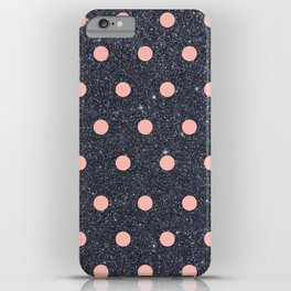 Black Glitter and Pink Polka Dots iPhone Case