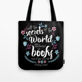 Book Secrets (Black) (Lemony Snicket Quote) Tote Bag