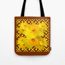Coffee Brown Pattern of Golden Daffodils Art Tote Bag