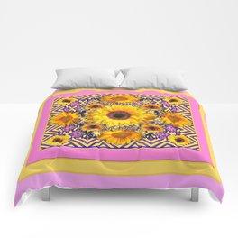Pink Color & Yellow Sunflowers Garden Pattern Art Comforters