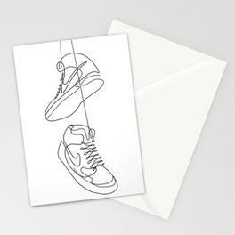 Sneakers simple minimal one line art, hanging shoes branded shoes  Stationery Cards