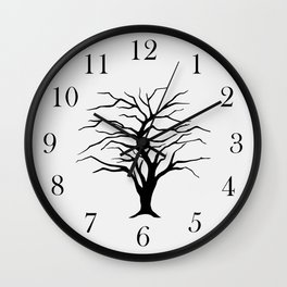 black silhouette of the willow tree without leaves Wall Clock