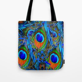 FEATHERY BLUE PEACOCK ABSTRACTED  FEATHERS ART PILLOWS Tote Bag