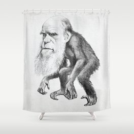 Charles Darwin as an Ape, caricature 1871 Shower Curtain