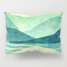 Spring Sunset over Emerald Mountain Landscape Painting Pillow Sham