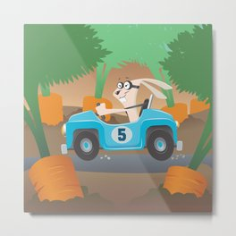 Bunny Racer Metal Print
