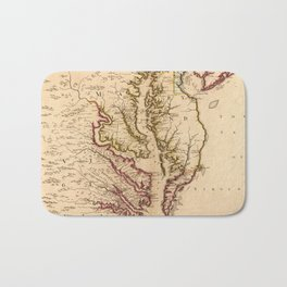 Vintage Map of The Chesapeake Bay (1719) Bath Mat