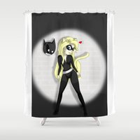 catwoman Shower Curtains featuring Catwoman by oONekoGirloO