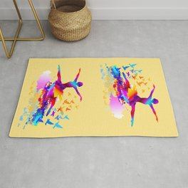 Colorful ballet dancer with flying birds Rug