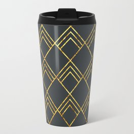 Diamond Art Deco; - Black & Gold Travel Mug