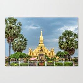 King Sethathirath Statue & Pha That Luang II, Vientiane, Laos Canvas Print