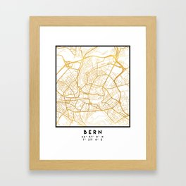 BERN SWITZERLAND CITY STREET MAP ART Framed Art Print
